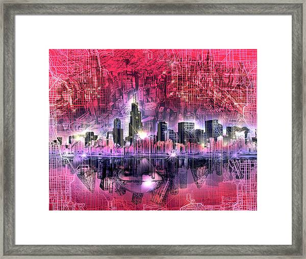 Chicago Skyline Red Version Framed Print