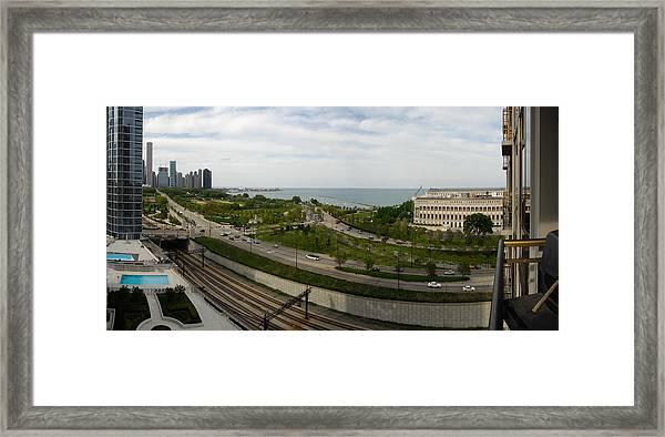 Chicago Skyline Showing Monroe Harbor Framed Print