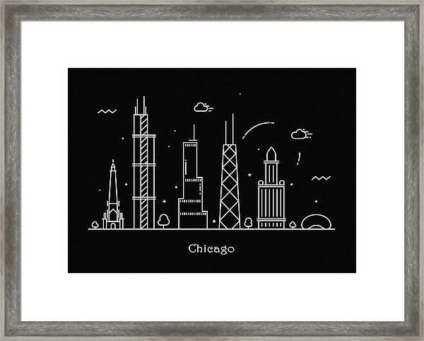 Chicago Skyline Travel Poster Framed Print
