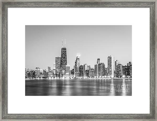 Chicago Skyline With Hancock Building Photo Framed Print
