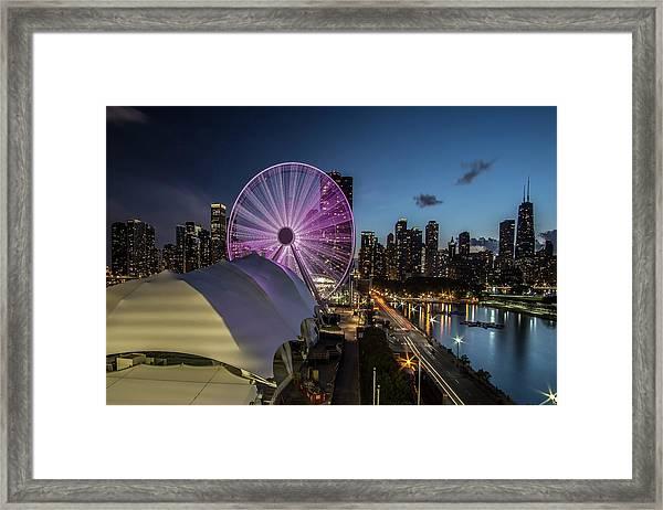 Chicago Skyline With New Ferris Wheel At Dusk Framed Print