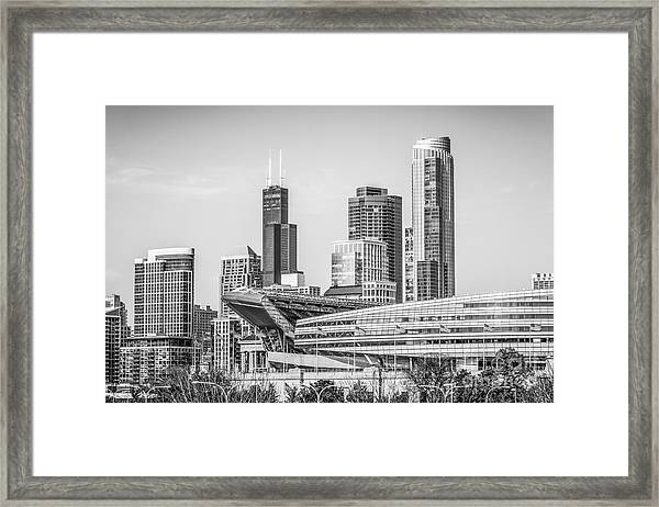 Chicago Skyline With Soldier Field And Willis Tower  Framed Print