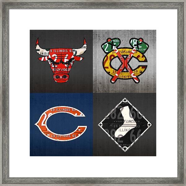Chicago Sports Fan Recycled Vintage Illinois License Plate Art Bulls Blackhawks Bears And White Sox Framed Print