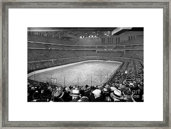 Chicago Stadium Prepared For A Chicago Blackhawks Game Framed Print