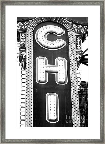 Chicago Theatre Marquee Mono Framed Print