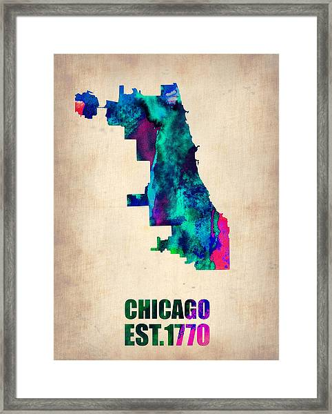 Chicago Watercolor Map Framed Print