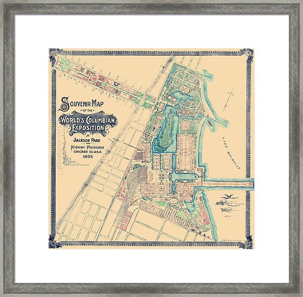 Chicago World's Fair - Columbian Exposition Map - 1893 Framed Print