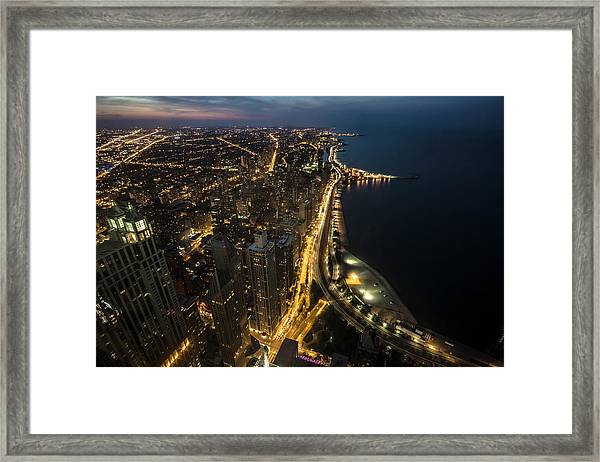 Chicago's North Side From Above At Night  Framed Print