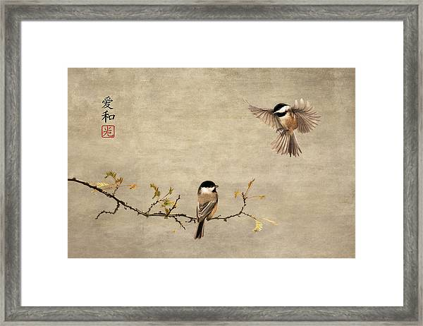 Chickadee Encounter II Framed Print