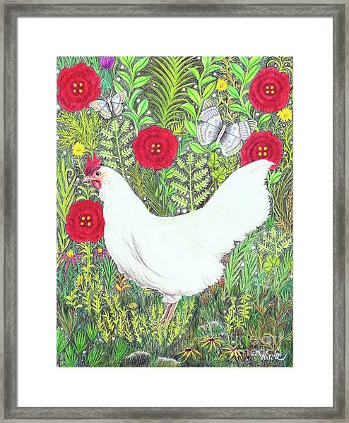 Chicken With Millefleurs And Butterflies  Framed Print