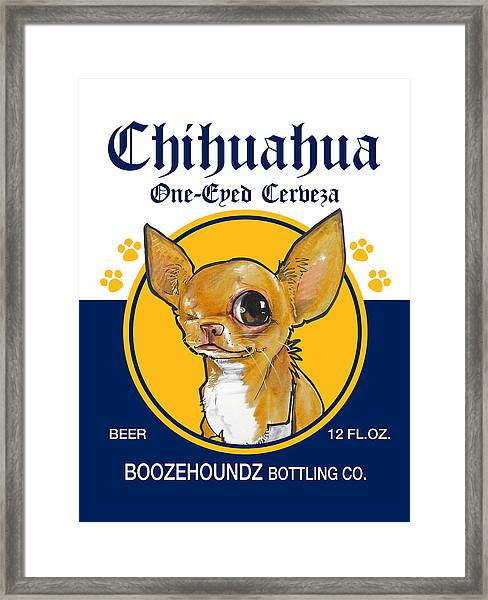 Chihuahua One-eyed Cerveza Framed Print