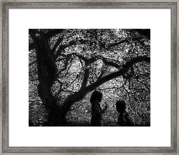 Child Silhouettes Framed Print
