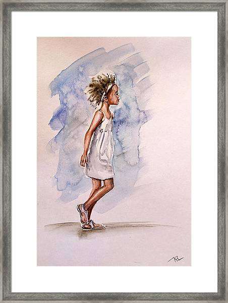 Framed Print featuring the painting Childhood 1 by Katerina Kovatcheva