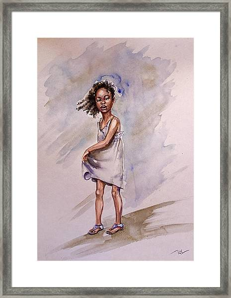 Framed Print featuring the painting Childhood 2 by Katerina Kovatcheva