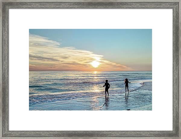 Children At Play On A Florida Beach  Framed Print