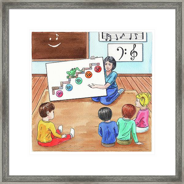 Children Book Illustration Jumping Frog Framed Print