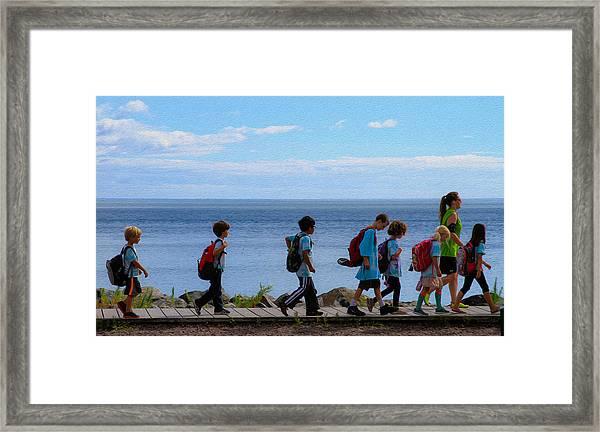 Children On Lake Walk Framed Print