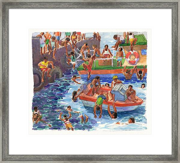 Children Playing At Avarua Wharf  Framed Print