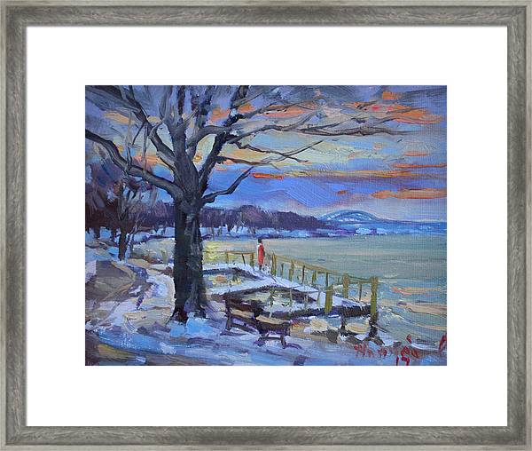 Chilly Sunset In Niagara River Framed Print