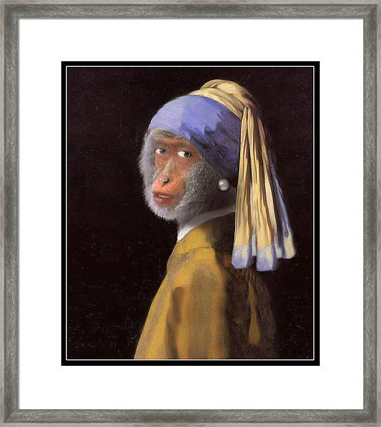 Chimp With A Pearl Earring Framed Print
