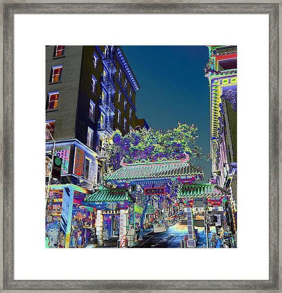 China Town / Shades Of Blue Framed Print