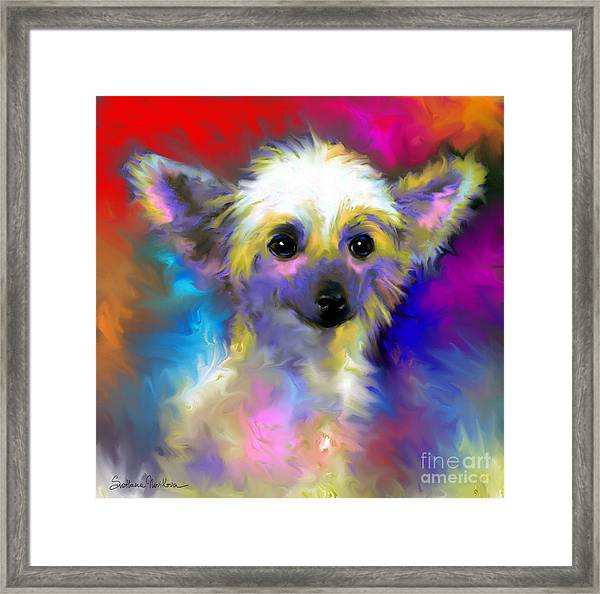 Chinese Crested Dog Puppy Painting Print Framed Print