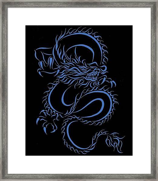 7d43aa3d7 Chinese Dragon Tribal Blue Framed Print by Tina Barnash