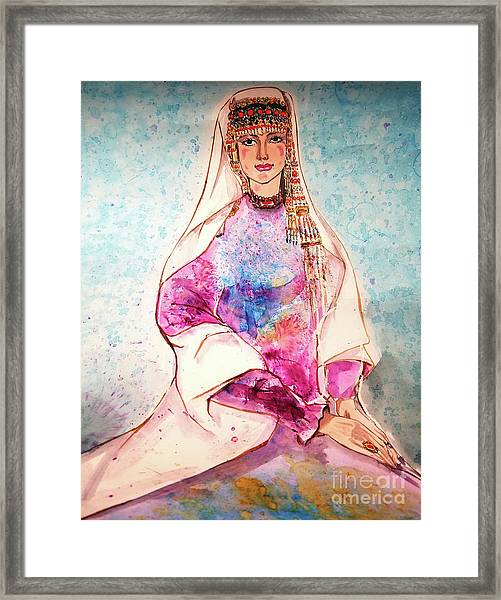 Chinese Minority Woman With Ocean Blue Background Framed Print