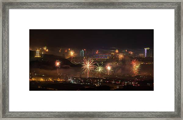 Framed Print featuring the photograph Chinese New Year Fireworks 2018 I by William Dickman