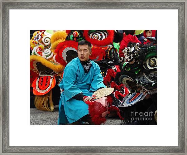 Chinese New Year Lion Dancers, Chinatown, Boston, Massachusetts, 2016 Framed Print