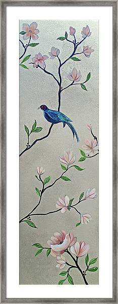 Chinoiserie - Magnolias And Birds #4 Framed Print