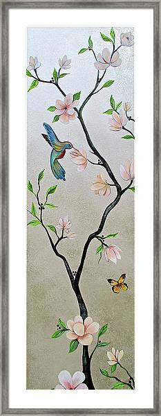 Chinoiserie - Magnolias And Birds #5 Framed Print