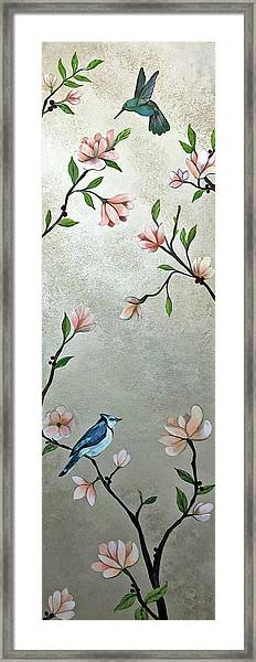Chinoiserie - Magnolias And Birds Framed Print