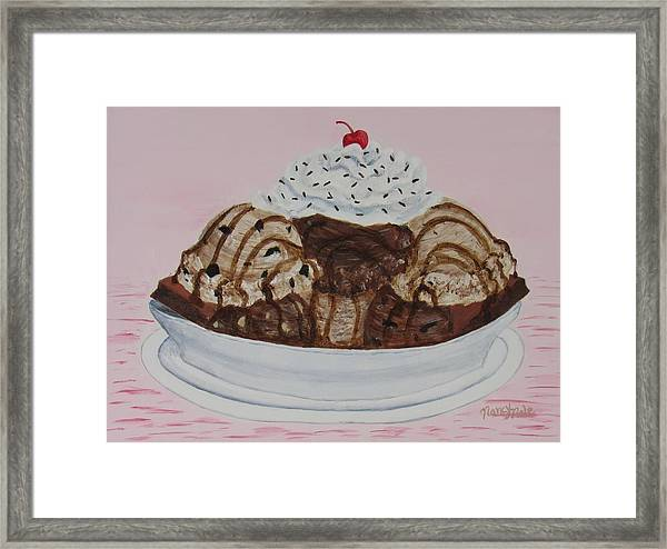 Framed Print featuring the painting Chocolatey Brownie Sundae by Nancy Nale