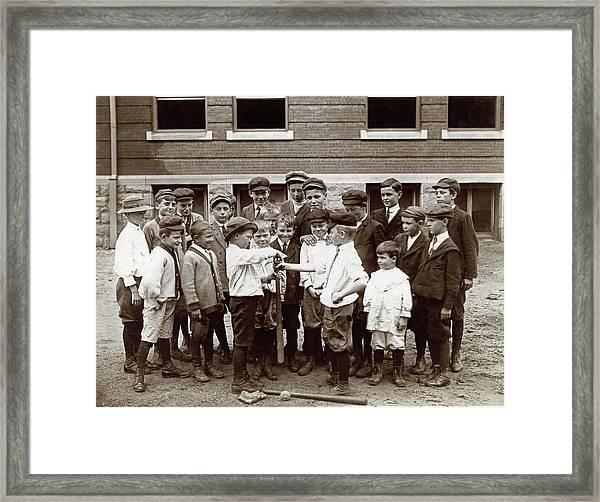 Choosing Baseball Teams Framed Print