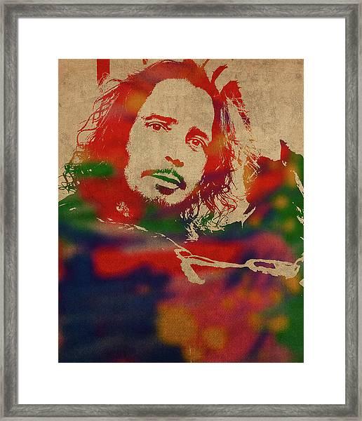 Chris Cornell Soundgarden Watercolor Portrait Framed Print