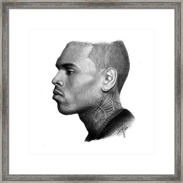 Chris Brown Drawing By Sofia Furniel Framed Print