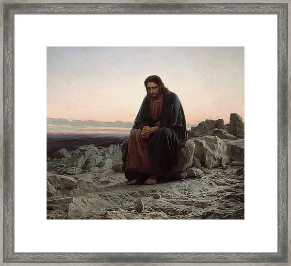 Christ In The Desert Framed Print