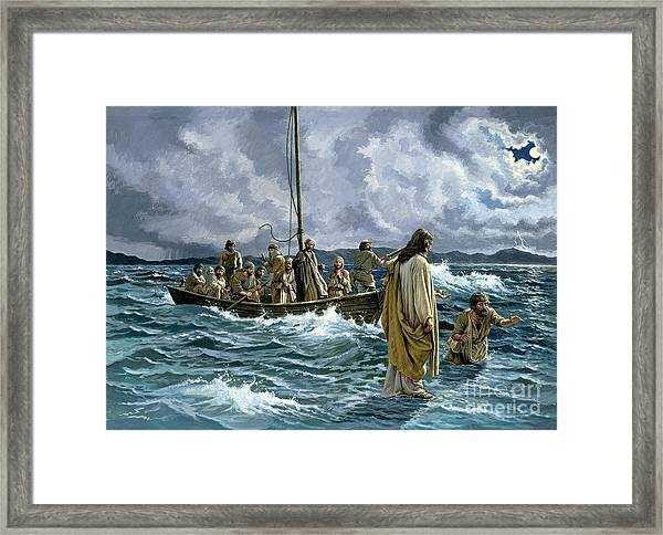 Christ Walking On The Sea Of Galilee Framed Print