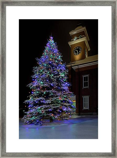 Christmas At Town Hall Framed Print