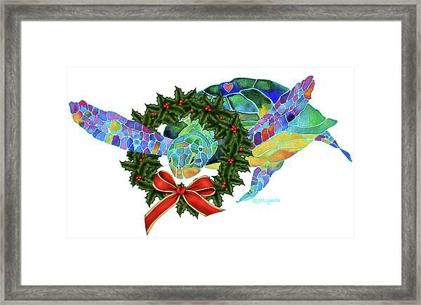 Christmas Holiday Sea Turtle Framed Print