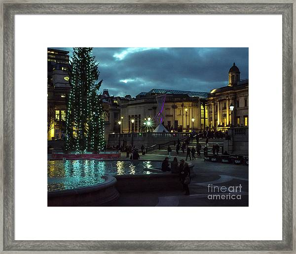 Christmas In Trafalgar Square, London 2 Framed Print