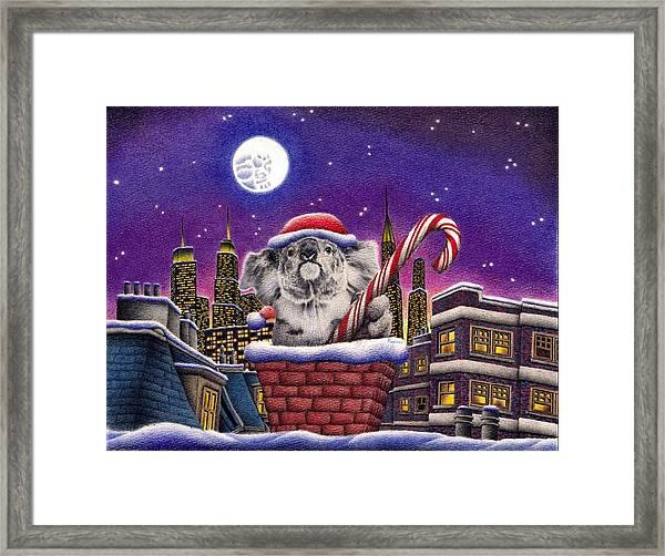 Christmas Koala In Chimney Framed Print