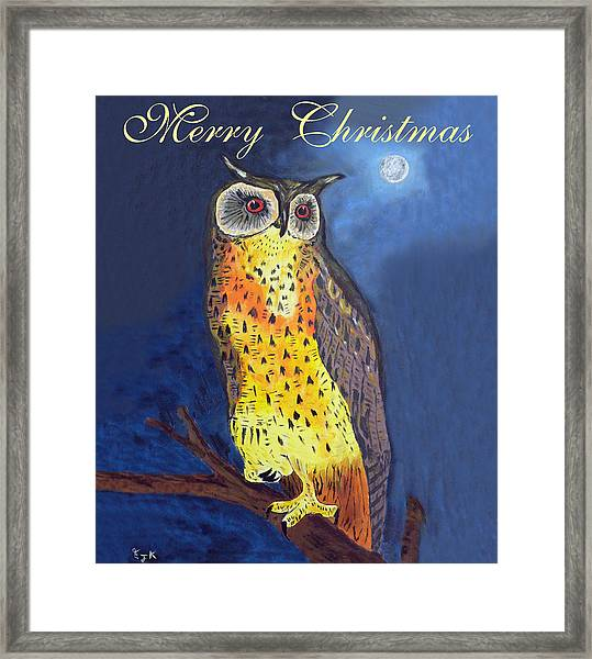 Framed Print featuring the mixed media Christmas Owl by Eric Kempson