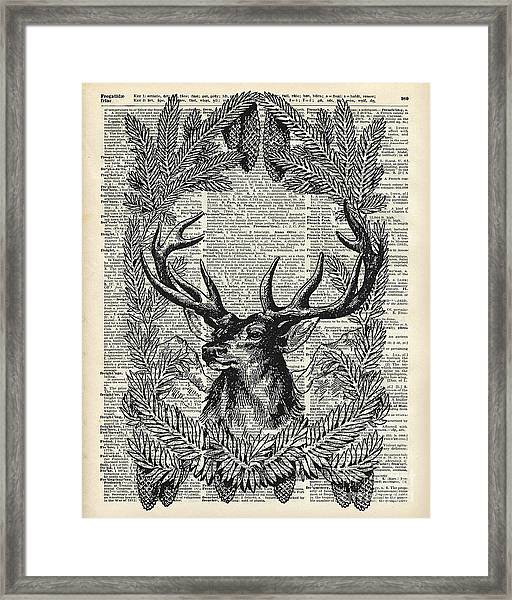 Christmas Stag Framed Print
