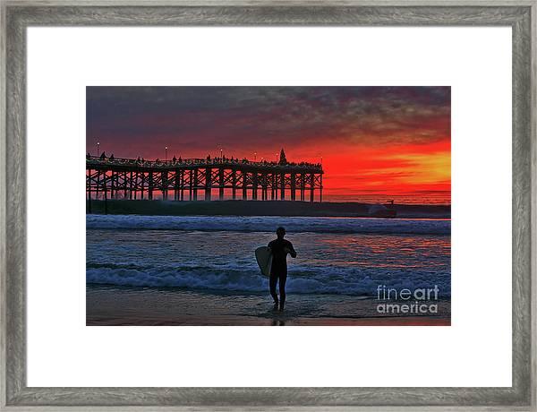 Christmas Surfer Sunset Framed Print