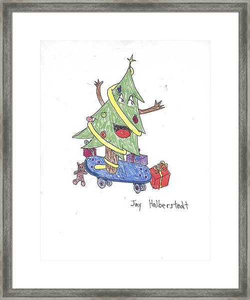 Christmas Tree On Skateboard Framed Print