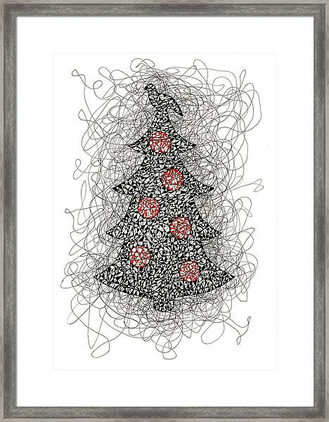 Christmas Tree Pen And Ink Drawing Framed Print