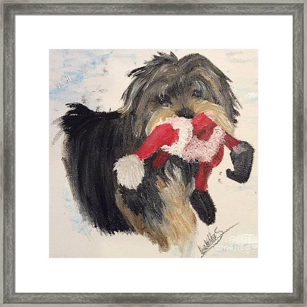 Christmas Yorkie Framed Print