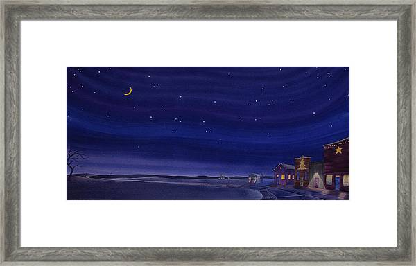 Framed Print featuring the painting Christmastime In Prairie Town by Scott Kirby